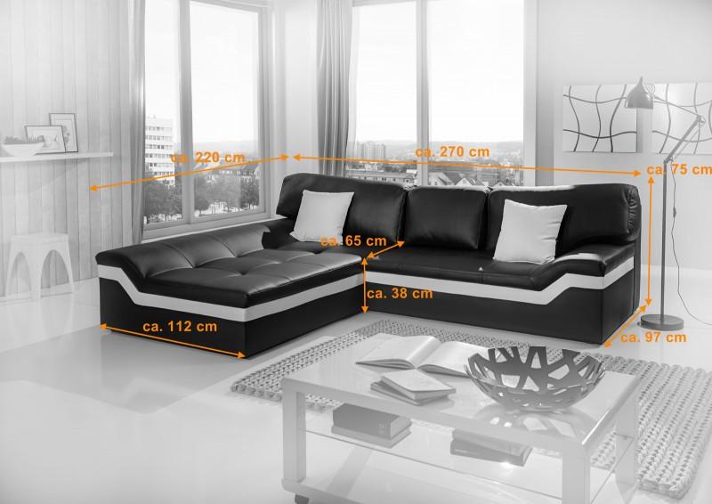 Sam ecksofa schwarz stripe wei sofa mistico 220 x 270 cm for Ecksofa 220 x 160