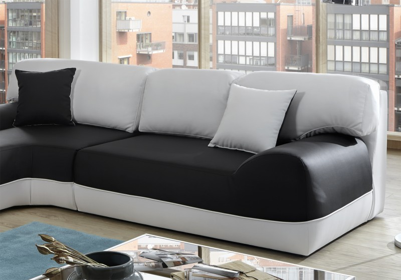 Sam ecksofa sofa schwarz wei couch impulso 220 x 260 cm for Ecksofa trends
