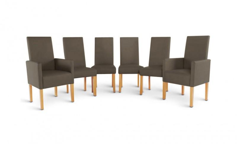 sam esszimmer stuhl set recyceltes leder muddy eiche 4 2. Black Bedroom Furniture Sets. Home Design Ideas