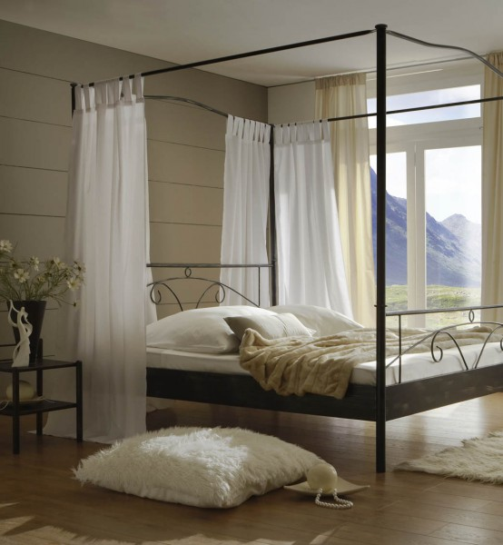 sam metall himmelbett schwarz 140 x 200 cm castello. Black Bedroom Furniture Sets. Home Design Ideas