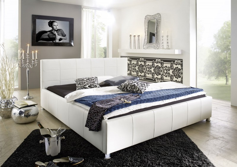 sam polster bett 160 x 200 cm wei kira g nstig. Black Bedroom Furniture Sets. Home Design Ideas