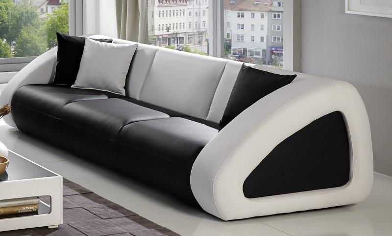 sam polster sofa garnitur schwarz wei wei ciao combi 3 2 1. Black Bedroom Furniture Sets. Home Design Ideas