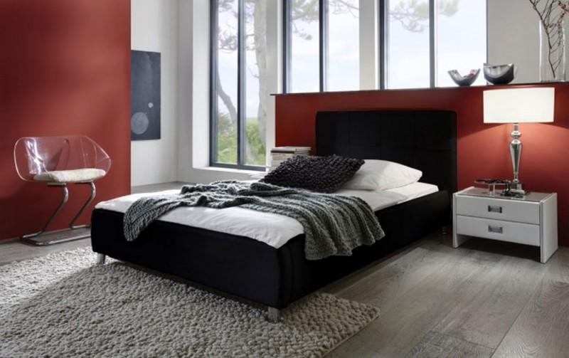 sam polsterbett 100 x 200 cm schwarz zarah g nstig. Black Bedroom Furniture Sets. Home Design Ideas