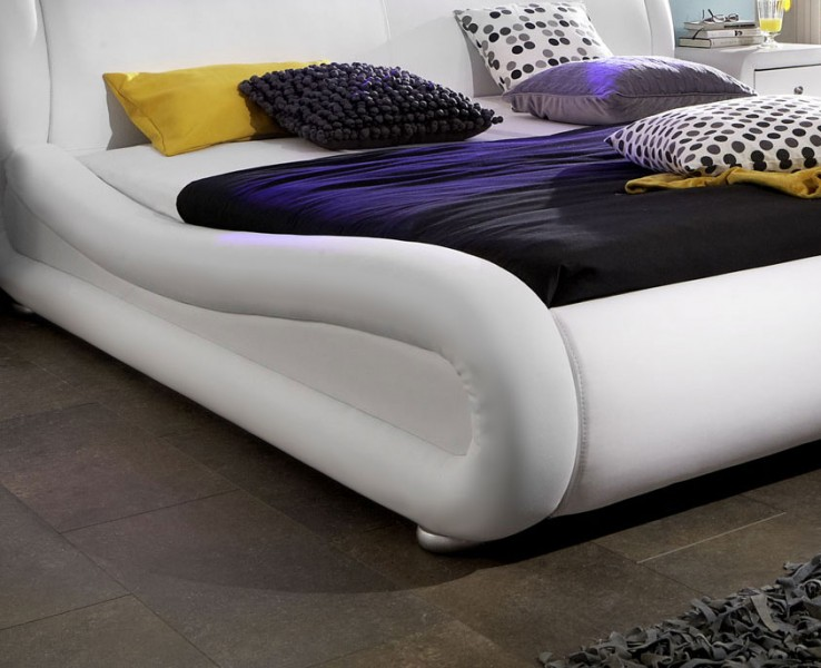 sam polsterbett 200 x 220 cm wei clip led g nstig. Black Bedroom Furniture Sets. Home Design Ideas