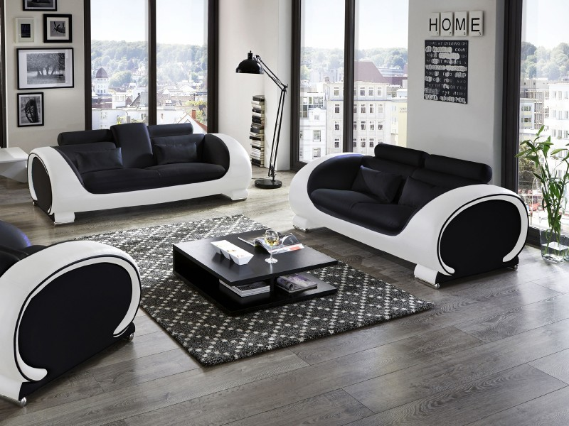 couchgarnitur sam polstergarnitur 2tlg in schwarz wei vigo. Black Bedroom Furniture Sets. Home Design Ideas