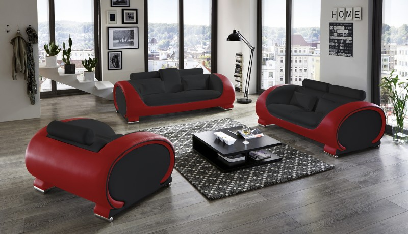 SAM® Sofa Garnitur 3tlg. in schwarz / rot Vigo 3-2-1
