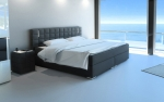 SAM® Boxspringbett Hotelbett Stoff grau LED 180 x 200 cm Boston Auf Lager !