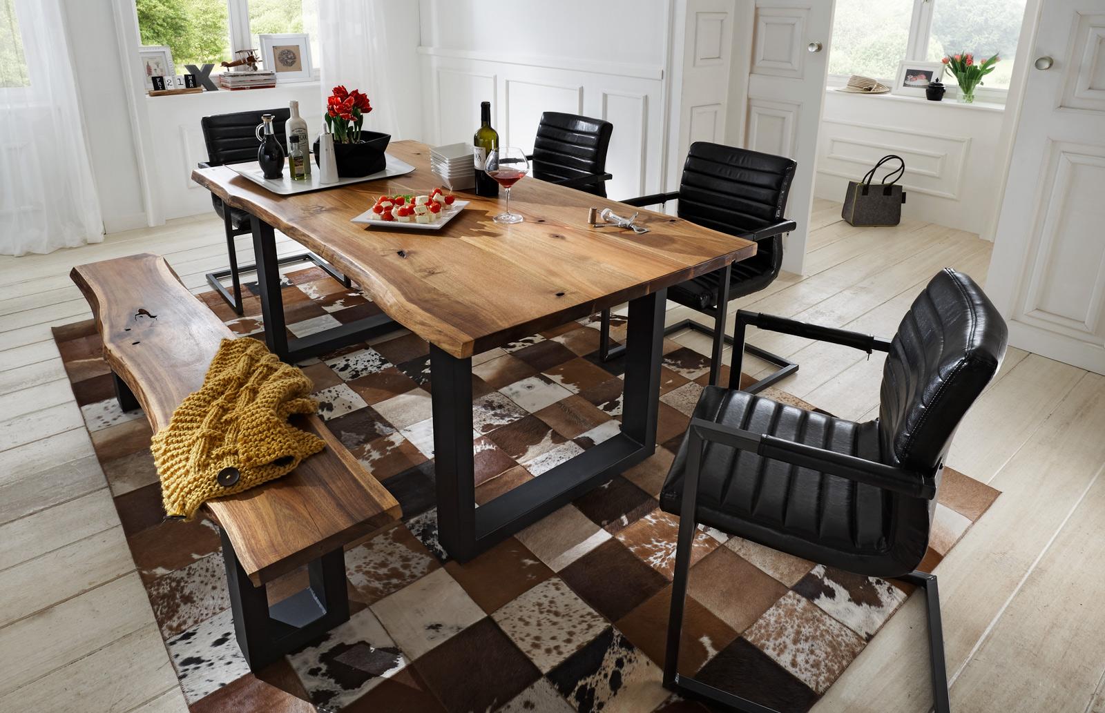 sam essgruppe 6tlg tisch auswahl 140 200 cm und stuhl. Black Bedroom Furniture Sets. Home Design Ideas