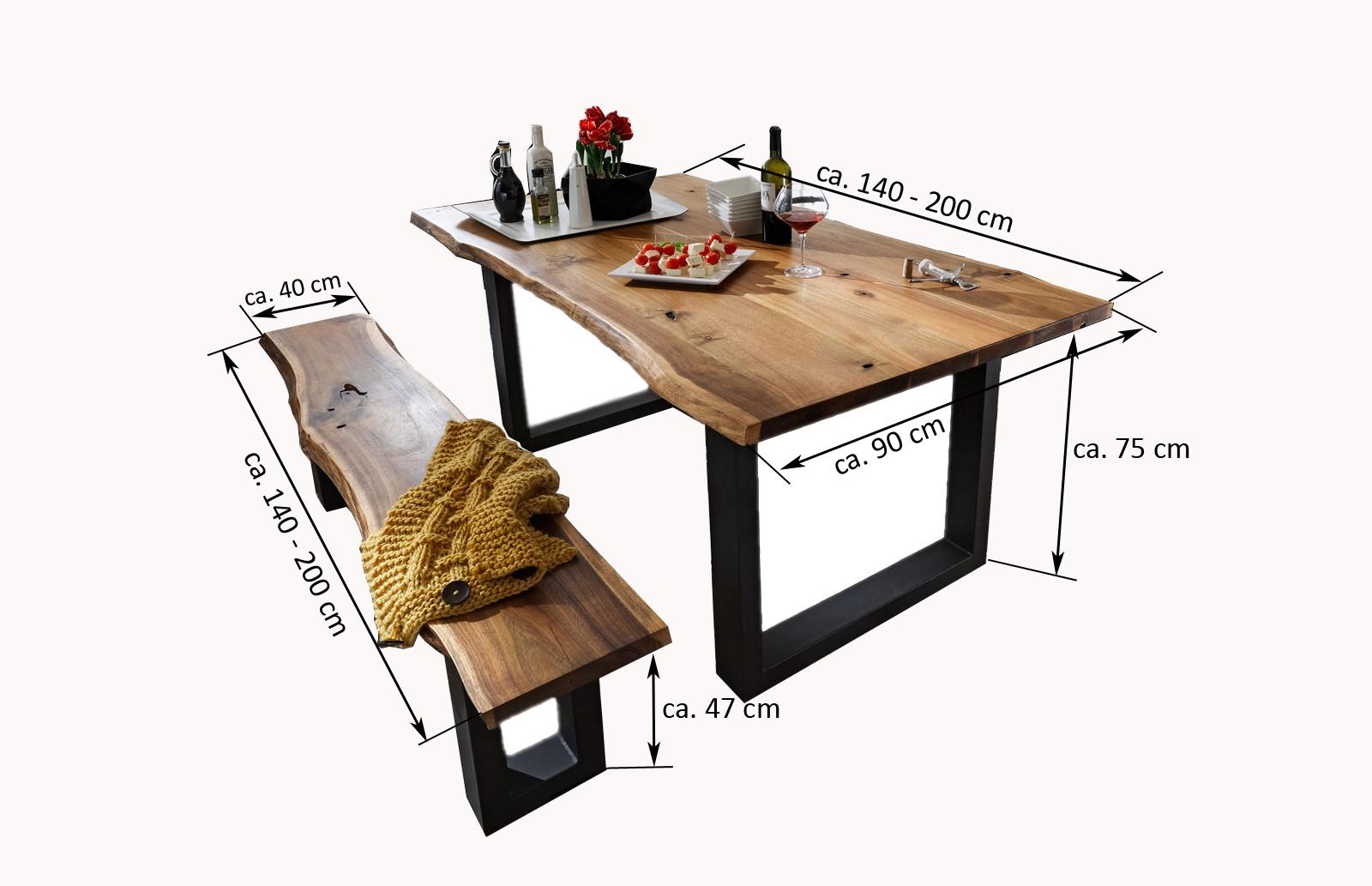 sam essgruppe 6tlg tisch auswahl 140 200 cm und stuhl farbauswahl akazie milo. Black Bedroom Furniture Sets. Home Design Ideas