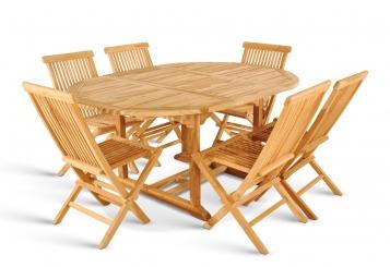 SAM® Teak Gartenmöbel Set 7tlg Tisch 120-170 cm Klappstühle BORNEO2