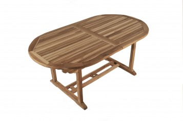 sam teak gartentisch oval mit schirmloch solo auf lager. Black Bedroom Furniture Sets. Home Design Ideas