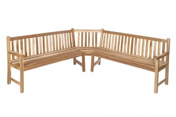 Gartenbank Eckbank 210 x 210 cm Teak-Holz FELIA