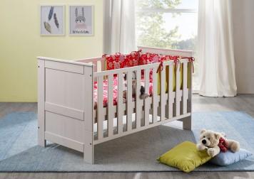 Sam babybett in wei kiefer massiv 70 x 140 cm emma auf - Kinderzimmergestaltung baby ...