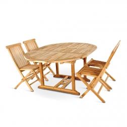 SAM® Teak Gartenmoebel 5tlg Tisch 120-170 cm Klappstühle BORNEO-1