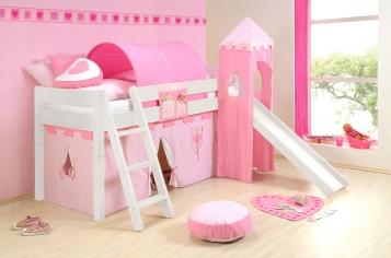 SAM® Kinder Spielbett Prinzessin II weiß schräg Massivholz Auf Lager !