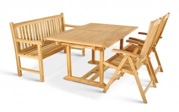SAM® Teak Gartengruppe Auszugstisch Bank Stühle Solo 4tlg