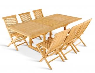 SAM® Teakholz Gartenmöbel Set 7tlg. Auszugstisch 150-200 cm CM