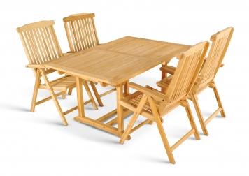 Gartenmöbel Set Teak 5tlg Auszugstisch 150-200 cm CA