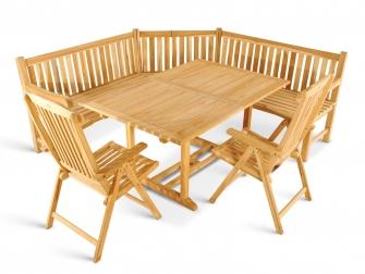 Gartenmöbel Set 4tlg mit Eckbank Teak Gartentisch ausziehbar 180-240 cm KUBA/SOLO