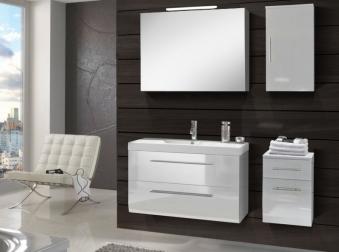 SAM® Badmöbel Set 4tlg Waschtisch 90 cm weiß Hochglanz ZÜRICH Deluxe Demnächst !