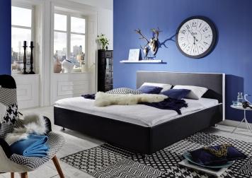 Design Polsterbett 160 x 200 cm schwarz / weiß SENZA