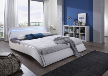 sam design polsterbett wei 160 cm surf led auf lager. Black Bedroom Furniture Sets. Home Design Ideas