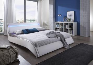 sam design polsterbett wei 160 cm surf led auf lager. Black Bedroom Furniture Sets. Home Design Ideas