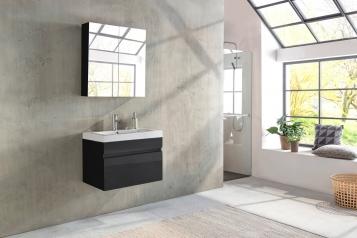 SAM® Badmöbel Set 2tlg Waschtisch 80 cm Hochglanz schwarz PARMA Auf Lager !