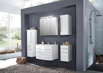 SAM® Badmöbel Set 5tlg Waschbecken 80 cm weiß Hochglanz Dublin Demnächst !