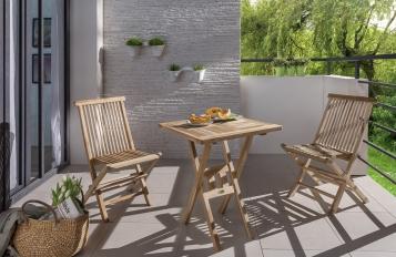 Balkonmöbel Set Teak 3tlg Tisch 70x70 und 2 Klappstühle SUNSET