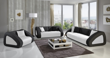 SAM® Polster Sofa 3 - Sitzer weiß/schwarz/schwarz CIAO