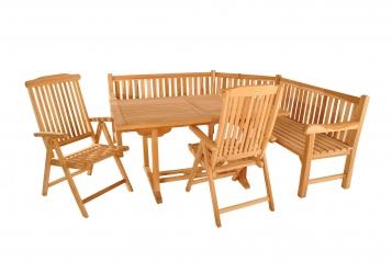 SAM® Teak Eckbank Gartenmöbel Set 4tlg Tisch 120 - 170 cm MA