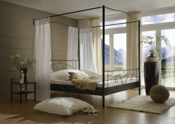 sam metall himmelbett schwarz 180 x 200 cm castello auf lager. Black Bedroom Furniture Sets. Home Design Ideas