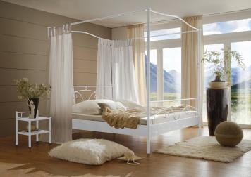 sam metall himmelbett wei 160 x 200 cm castello auf lager. Black Bedroom Furniture Sets. Home Design Ideas