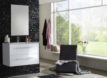 SAM® Badmöbel Set 2tlg Waschtisch 90 cm Spiegel weiß Hochglanz BASEL Demnächst !