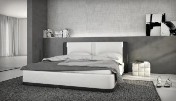 SALE Polsterbett 140 x 200 cm weiß/schwarz Santiago LED