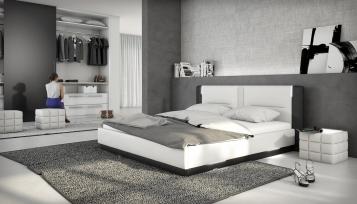SAM® Polsterbett 180 x 200 cm weiß/schwarz Santiago LED