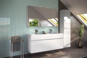 SAM® Badmöbel Set 3tlg Doppelwaschtisch 140 cm weiß Parma Deluxe Demnächst !