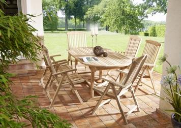 SAM® Teak Gartenmöbel Set 7tlg. Tisch oval 180 cm 6 Hochlehner ARUBA