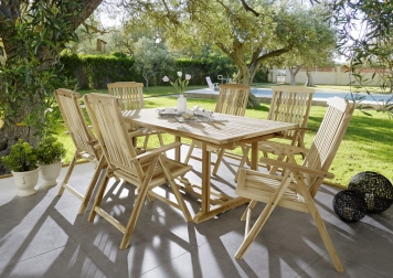 SAM® Teak Gartengruppe Tisch 150 - 200 cm Hochlehner Caracas/Aruba