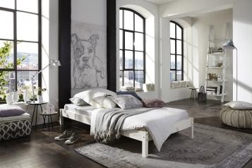 sale massivholzbett 140 x 200 cm g nstig kiefernholz wei sina auf lager. Black Bedroom Furniture Sets. Home Design Ideas