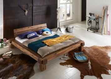Massivholzbett Balkenbett 140 x 200 cm aus Akazie ELKE