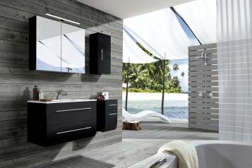 SAM® Badezimmermöbel Zagona 4tlg schwarz Hochglanz 90 cm Demnächst !
