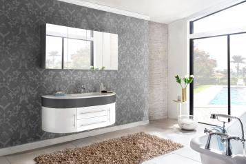 SAM® Badmöbel Set 2tlg Waschbecken 140 cm weiß grau Hochglanz Dublin Demnächst !