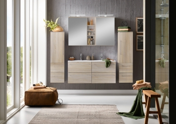 SAM® Badmöbel Set 4tlg Doppelwaschtisch 120 cm Sonomaeiche VILLA Demnächst !