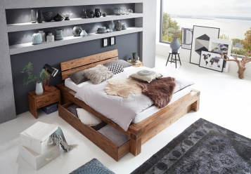 sam balkenbett massivholz 160 x 200 cm mit bettkasten. Black Bedroom Furniture Sets. Home Design Ideas