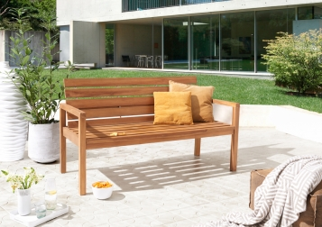 sam teak gartenbank mit r ckenlehne 155 cm sitzbank. Black Bedroom Furniture Sets. Home Design Ideas