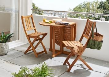 SAM® Balkonset 3tlg Akazie Tisch 120 cm klappbar Pedro/Bloom