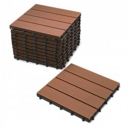 Terrassenfliesen Balkonfliesen WPC 11 Stück=1 m² teakfarben