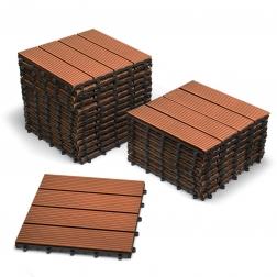 SAM® Terrassenfliesen Balkonfliesen WPC 22 Stück=2 m² teakfarben